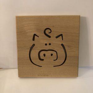 Holzbild Schwein