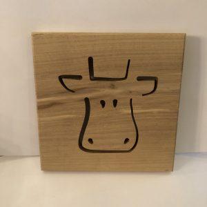 Holzbild Kuh